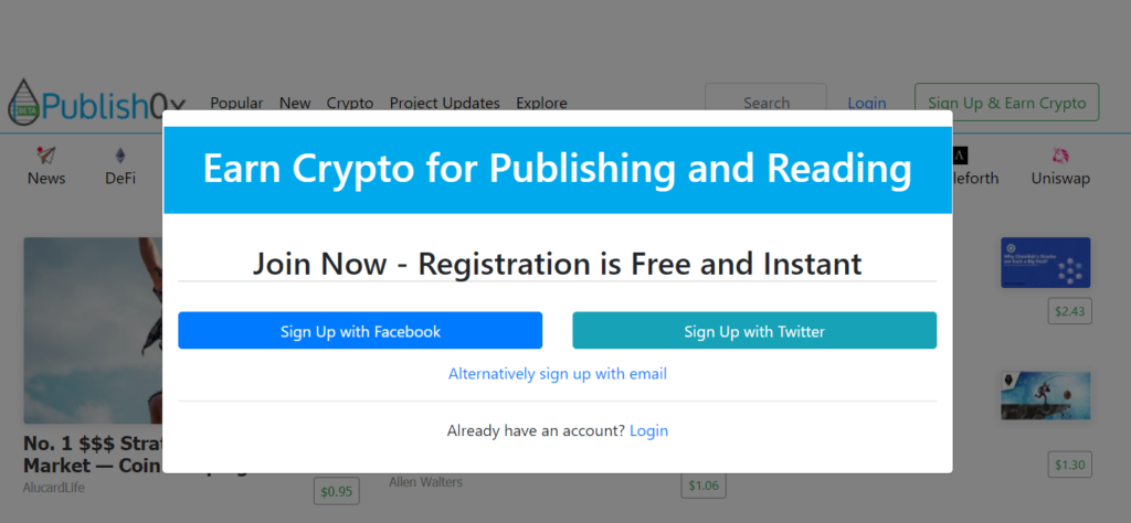 Publish0x: Vote and Earn ETH